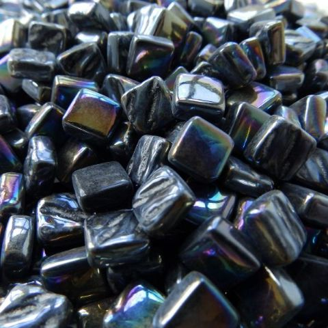 8mm Square Tiles - Black Pearlised - 500g